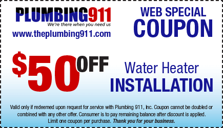 Water Heating Installation Coupon Plumbing 911