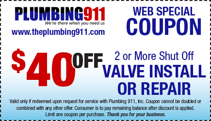 Valve Install or Repair Coupon Plumbing 911
